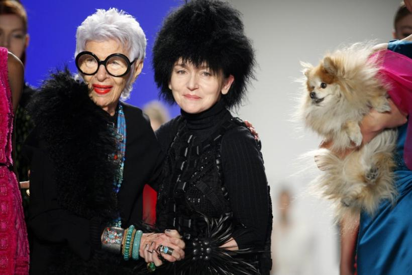 Designer Joanna Mastroianni (R) stands next to designer Iris Apfel (L) on the runway during the Fall/Winter 2012 collection during New York Fashion Week February 15, 2012.