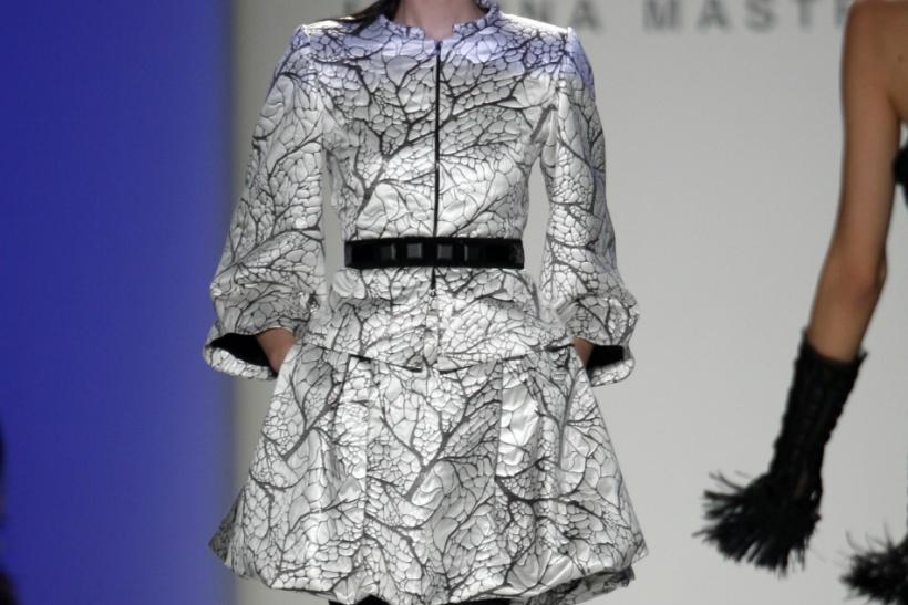 A model presents a creation from the Joanna Mastroianni Fall/Winter 2012 collection during New York Fashion Week February 15, 2012.