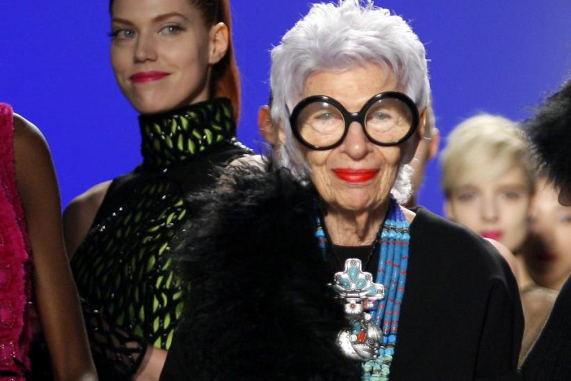 Designer Iris Apfel is seen on the runway during the Joanna Mastroianni Fall/Winter 2012 collection during New York Fashion Week February 15, 2012.