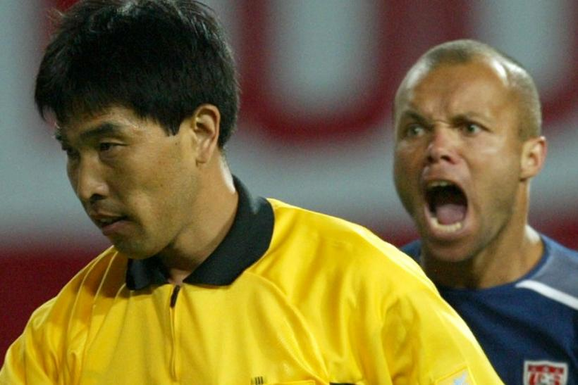 USA'S STEWART SHOUTS AFTER CHINESE REFEREE LU JUN DISALLOWS A USA GOAL IN WORLD CUP FINALS ...