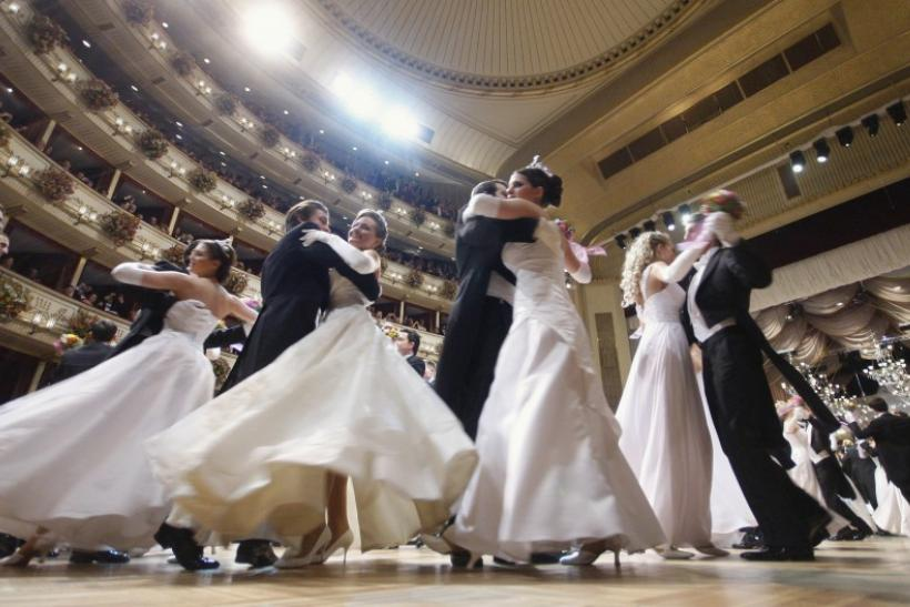 Dancers of the Young Ladies' and Gentlemen's Committee perform during the opening ceremony at the traditional Opera Ball in Vienna