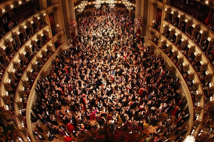 A general view of the Vienna State Opera House during the traditional Opernball, or Opera Ball, in Vienna
