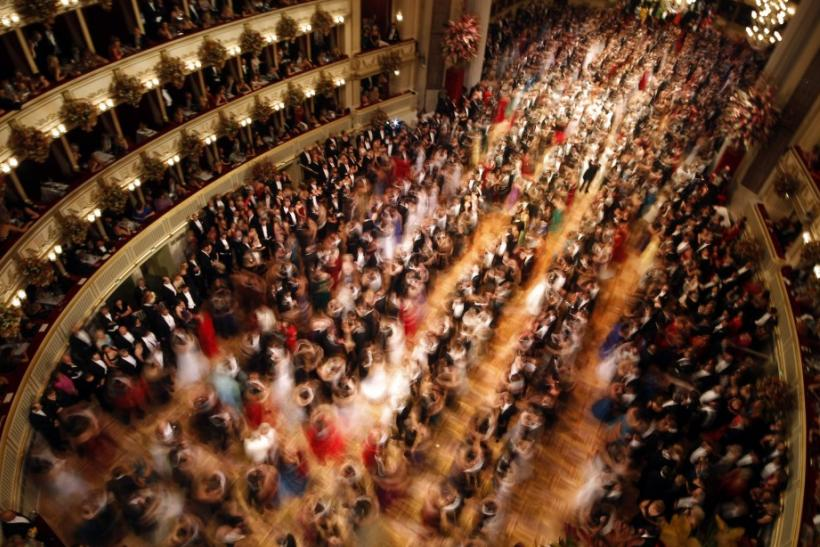 A general view of the state opera as guests dance during the traditional Opernball in Vienna
