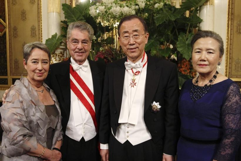 Margit Fischer, Austrian President Heinz Fischer, U.N. Secretary General Ban Ki-moon and his wife Yoo Soon-taek pose as they arrive at the traditional Opera Ball (Opernball) in Vienna, February 16, 2012.