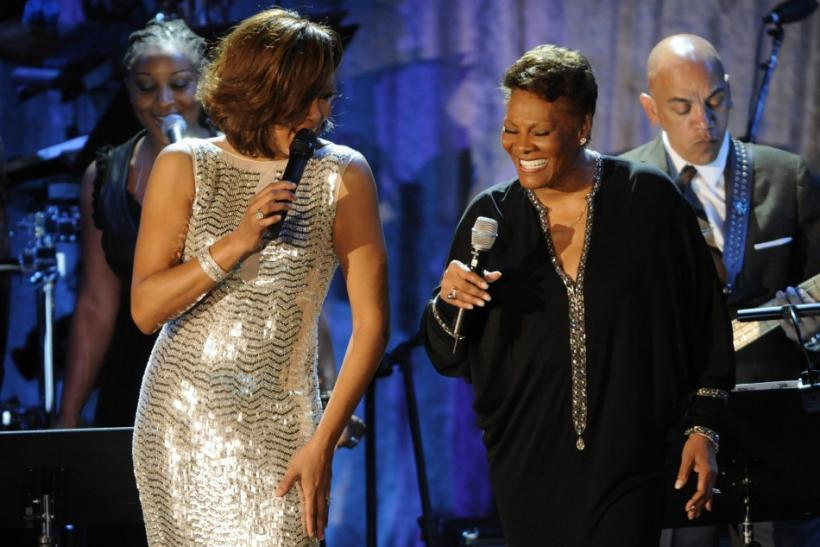 Whitney Houston and Dionne Warwick perform at the Pre-Grammy Gala & Salute to Industry Icons with Clive Davis in Beverly Hills, California