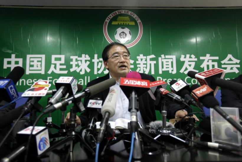 Wei Di, the new head of Chinese Football Association (CFA), speaks at his first news conference in Beijing on Feb. 2, 2010.