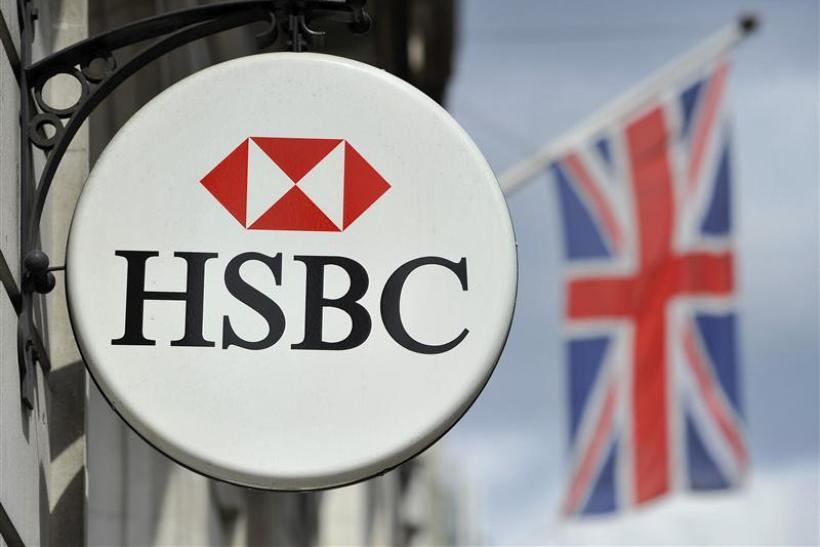 HSBC bank branch logo is seen in central London
