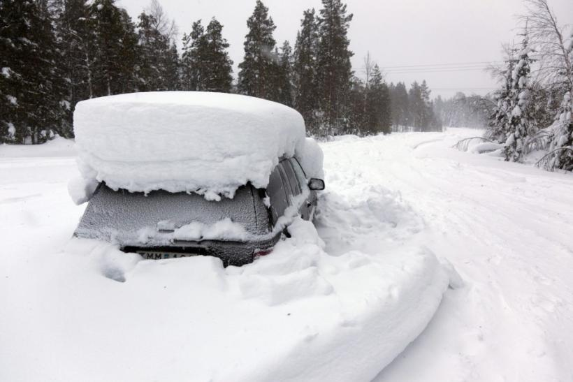 Peter Skyllberg's snow-covered car, discovered in Northern Sweden.