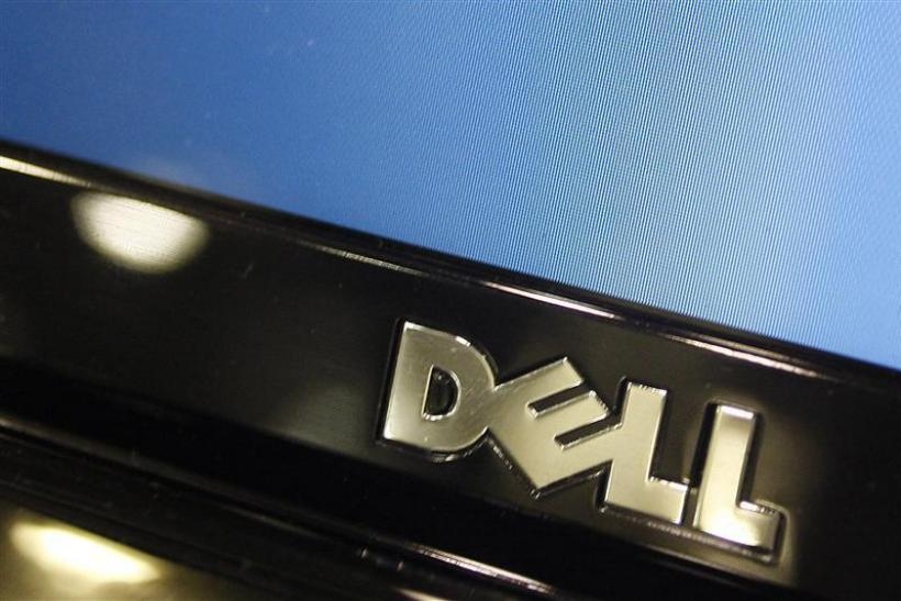 A Dell computer logo is seen on a laptop at Best Buy in Phoenix, Arizona
