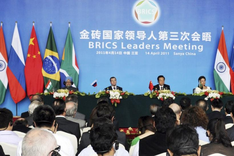 Leaders attend a joint news conference during BRICS summit in Sanya on the southern Chinese island of Hainan, April 14, 2011.