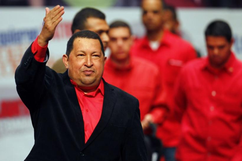 Venezuelan President Hugo Chavez arrives at a rally with supporters in Caracas.