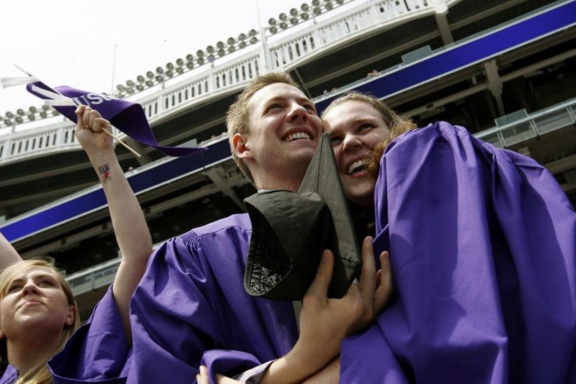 New York University graduates celebrate at 2009 commencement at Yankee Stadium in New York