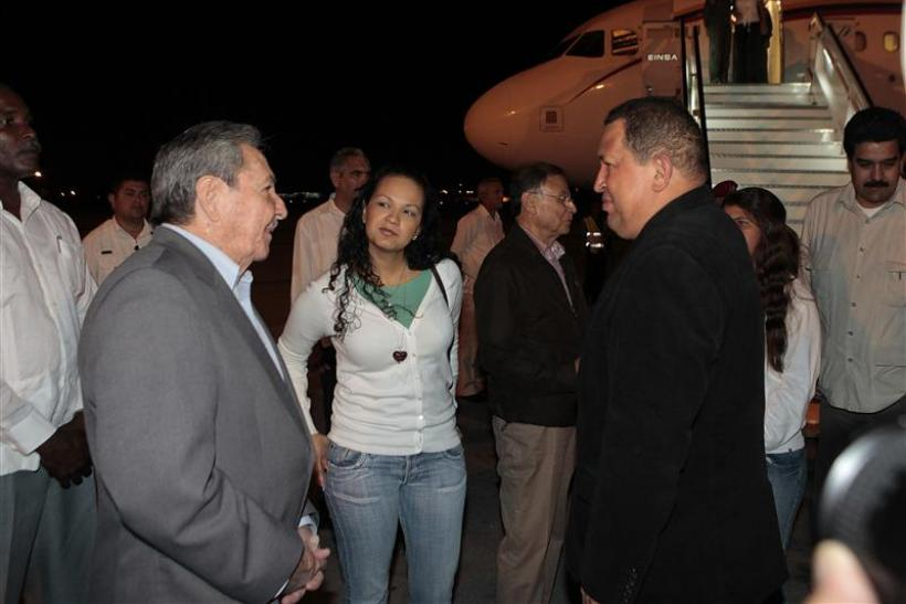 Venezuela's President Hugo Chavez is welcomed by his Cuban counterpart Raul Castro at Jose Marti airport in Havana