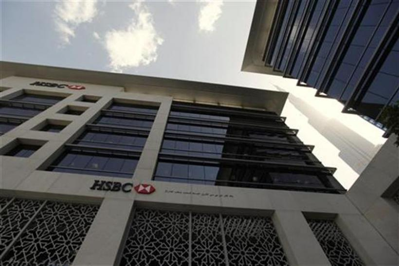 An HSBC bank branch is seen near the Burj Khalifa tower in Dubai