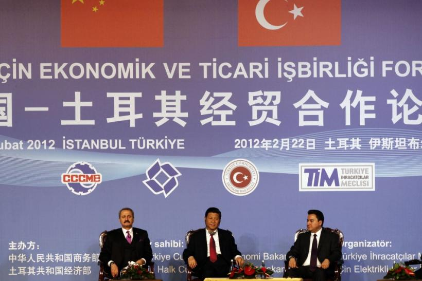 China's VP Xi, Turkey's Economy Minister Caglayan and Turkey's Deputy PM Babacan attend the Turkey-China Economic & Trade Cooperation Forum in Istanbul