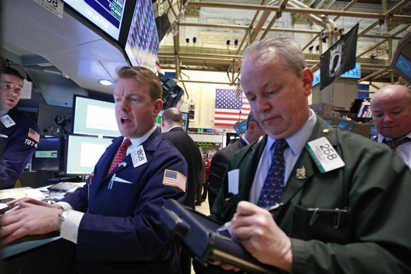 Specialist Trader O'Mara gives a price on the floor of the New York Stock Exchange