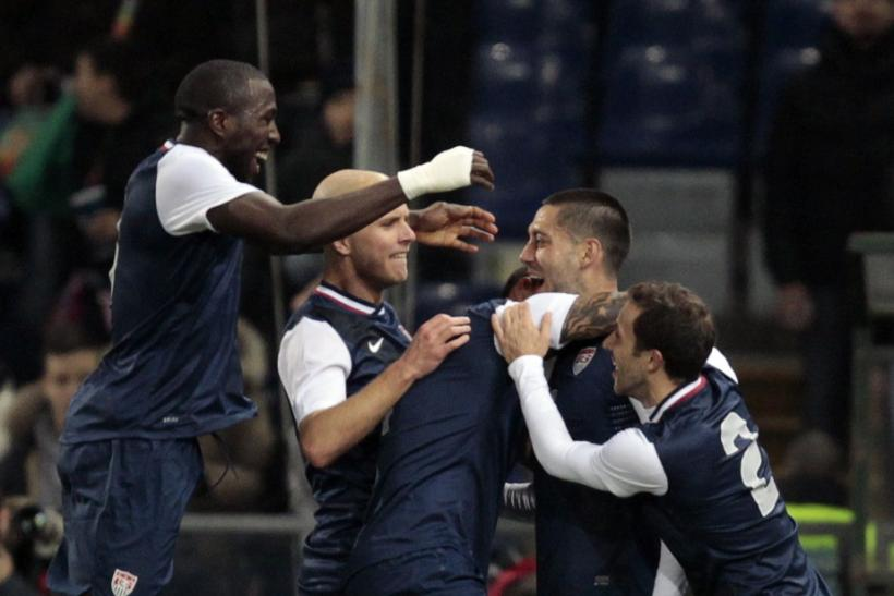 Members of the US soccer team celebrate Clint Dempsey's goal against Italy on Wednesday.