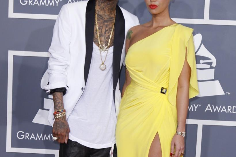 Wiz Khalifa and Amber Rose arrive at the 54th annual Grammy Awards