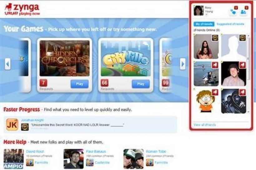 Zynga.com's homepage is seen in a handout photo.
