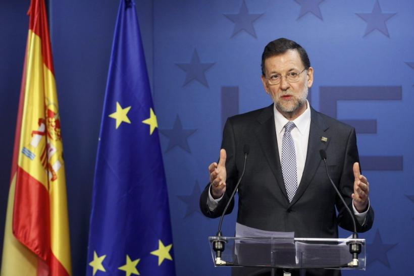 Spain's PM Rajoy holds a news conference at the end of a European Union leaders summit in Brussels.