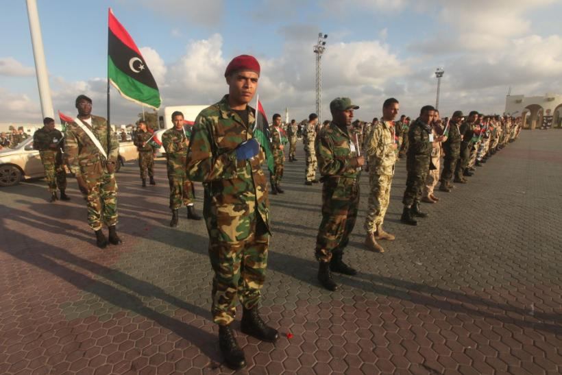 Soldiers from the National Army of Cyrenaica take part in a military parade graduation ceremony in Benghazi