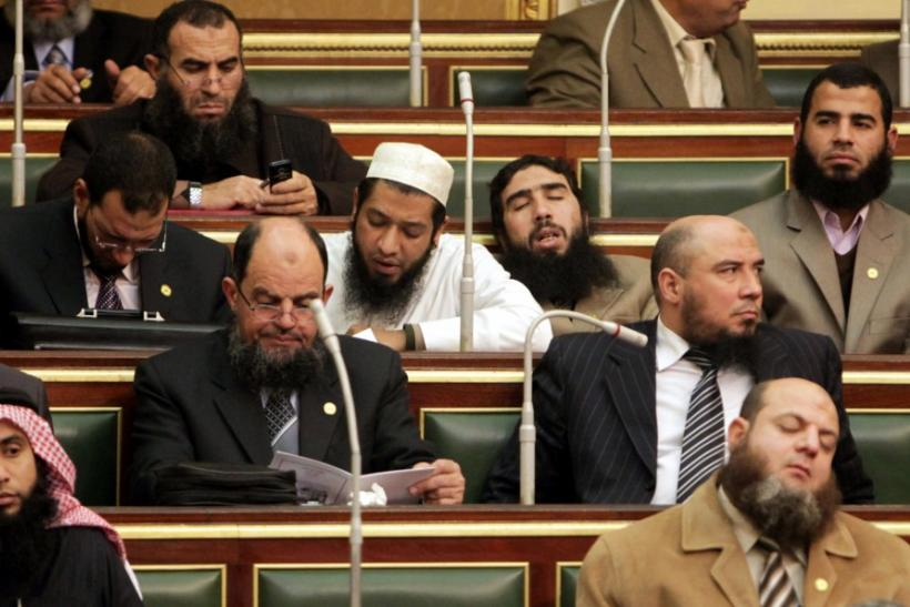 Salafi members of parliament are seen during the first Egyptian parliament session in Cairo.