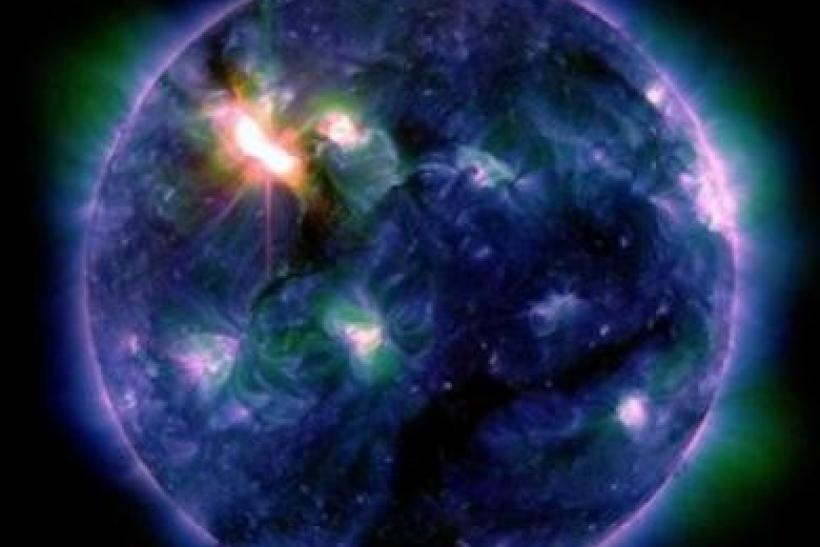The sun erupts with one of the largest solar flares of this solar cycle in this multi-colored NASA handout photo taken on March 6, 2012. This flare was categorized as an X5.4, making it the second largest flare -- after an X6.9 on August 9, 2011 -- since