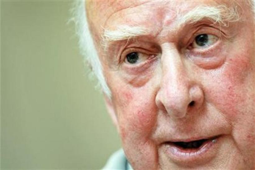 British physicist Peter Higgs during a press conference on the sideline of his visit to the European Organization for Nuclear Research (CERN) in Geneva, April 7, 2008.