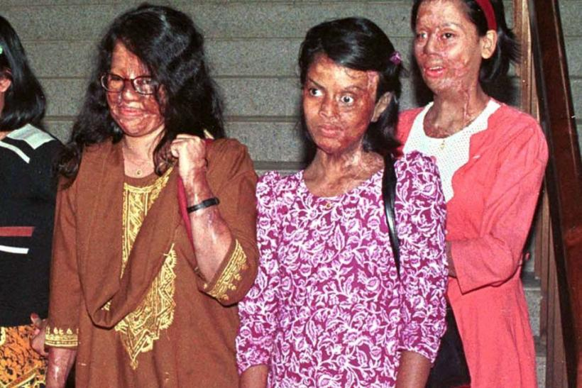 Six Bangladeshi girls who had been defaced by corrosive acid thrown on them by jilted lovers or foes