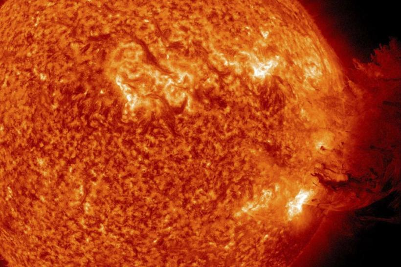 A handout picture shows Coronal Mass Ejection as viewed by the Solar Dynamics Observatory on June 7, 2011. The Sun unleashed an M-2 (medium-sized) solar flare, an S1-class (minor) radiation storm and a spectacular coronal mass ejection (CME) on June 7, 20