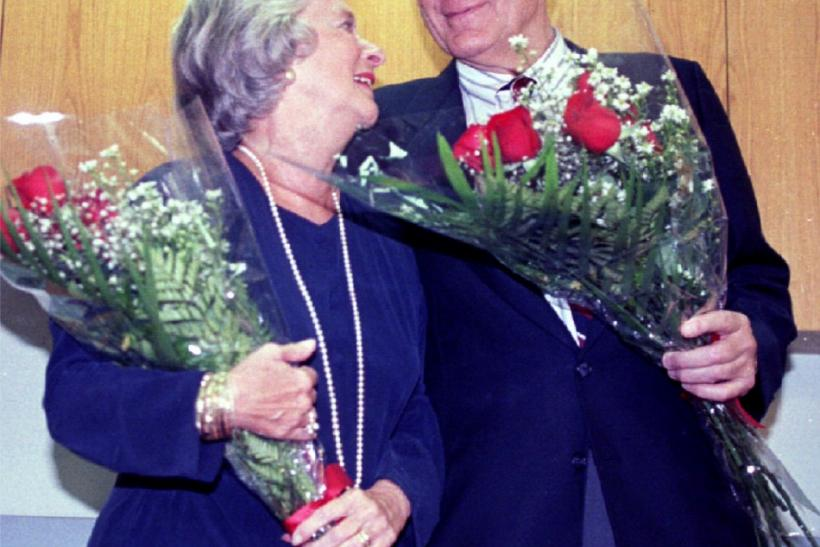 Professor F. Sherwood Rowland shares a happy moment with his wife, Joan, following the October 11, 1995 announcement that he would be awarded the Nobel Prize in chemistry.
