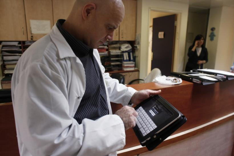 The Apple iPad allows residents to see patients' electronic health records, to contact the hospital laboratory or other departments if they need tests done and to show patients their own x-rays and other test results, as well as access medical journa