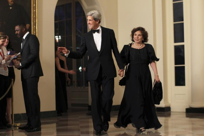 U.S. Senator John Kerry (D-MA) and his wife Teresa Heinz arrive for a State Dinner held in honor of Britain's Prime Minister David Cameron and his wife Samantha at the White House in Washington March 14, 2012.