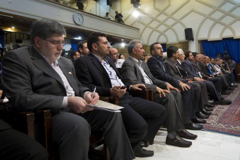 File picture shows Iranian President Ahmadinejad's media adviser Javanfekr attending a news conference given by Ahmadinejad in Tehran