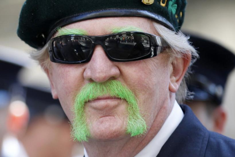 A New York City fireman marches in New York City's 250th annual St. Patrick's Day parade, March 17, 2011.