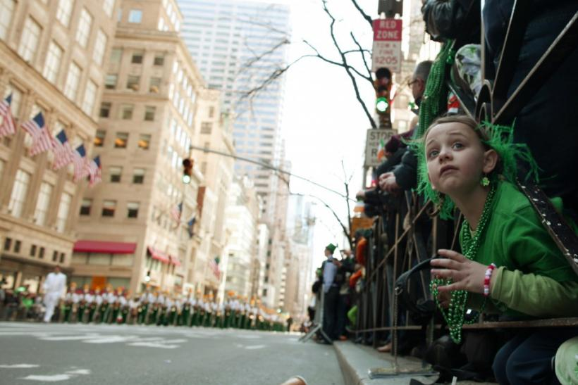 A young girl watches the New York City's 250th annual St. Patrick's Day parade, March 17, 2011.