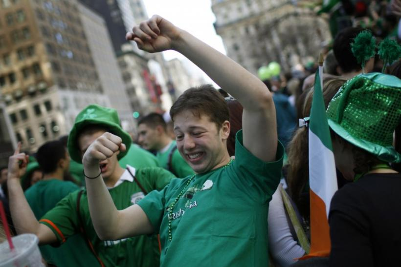 Revellers celebrate along 5th Avenue in New York during the city's 250th annual St. Patrick's Day parade, March 17, 2011.