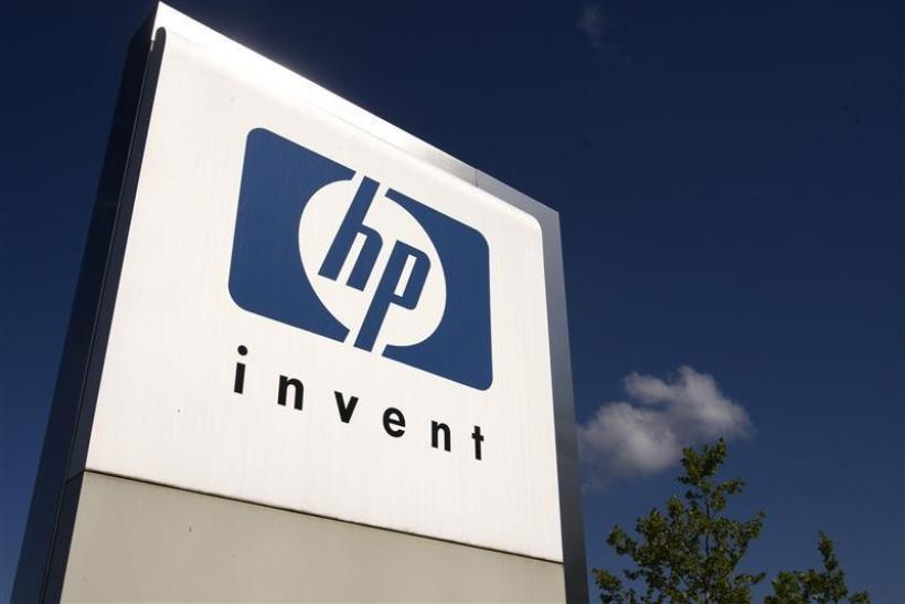 A HP Invent logo is pictured in front of Hewlett-Packard international offices in Meyrin near Geneva August 4, 2009.