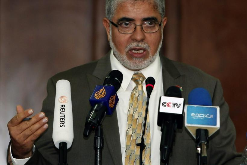 Libya's Deputy Prime Minister Mustafa Abushagur speaks at a news conference in Tripoli.