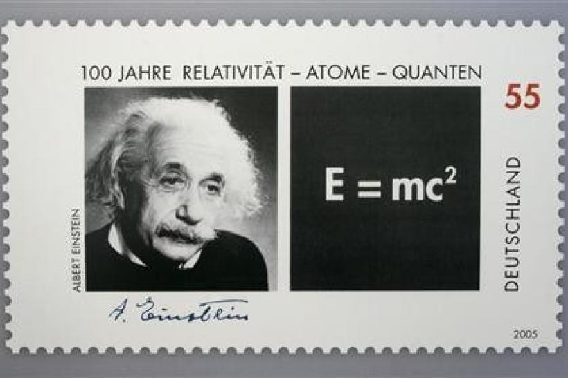 Picture shows a German 55 euro cents special edition stamp commemorating the the 100th anniversary of the publication of late German-born physicist Einstein's Theory of Relativity in Berlin. Picture shows a German 55 euro cents special edition stamp