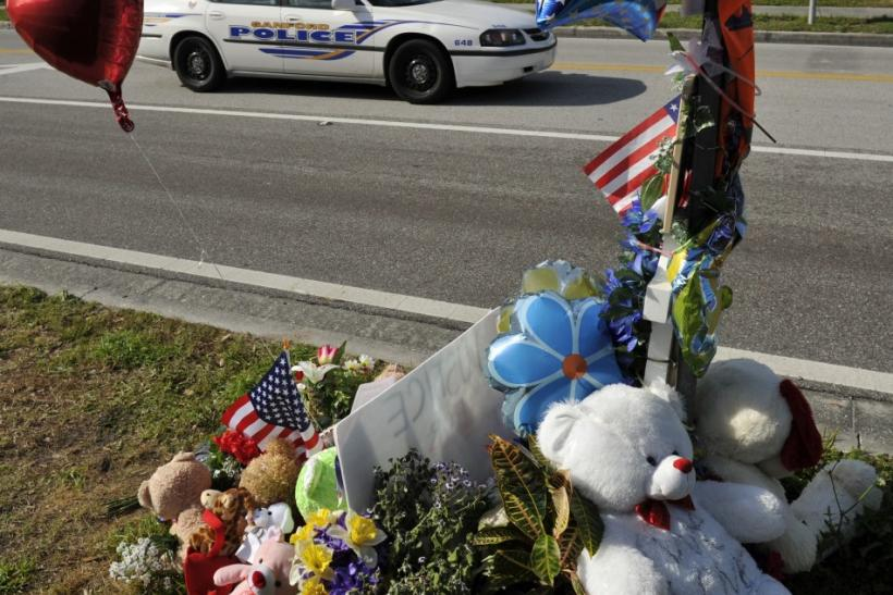 A view of a memorial dedicated to Trayvon Martin near the site where he was killed in front of The Retreat at Twin Lakes community in Sanford, Florida March 22, 2012.