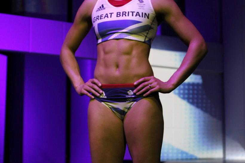 Heptathlete Jessica Ennis poses wearing the new Team GB kit designed by British designer Stella McCartney for the London 2012 Olympic Games, at a media viewing in London March 22, 2012.