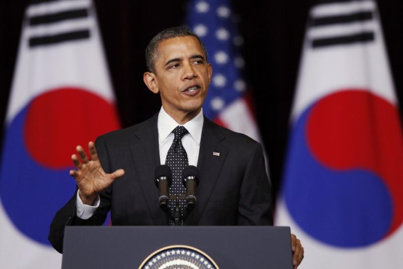 U.S. President Barack Obama delivers a speech at the Hankuk University of Foreign Studies in Seoul