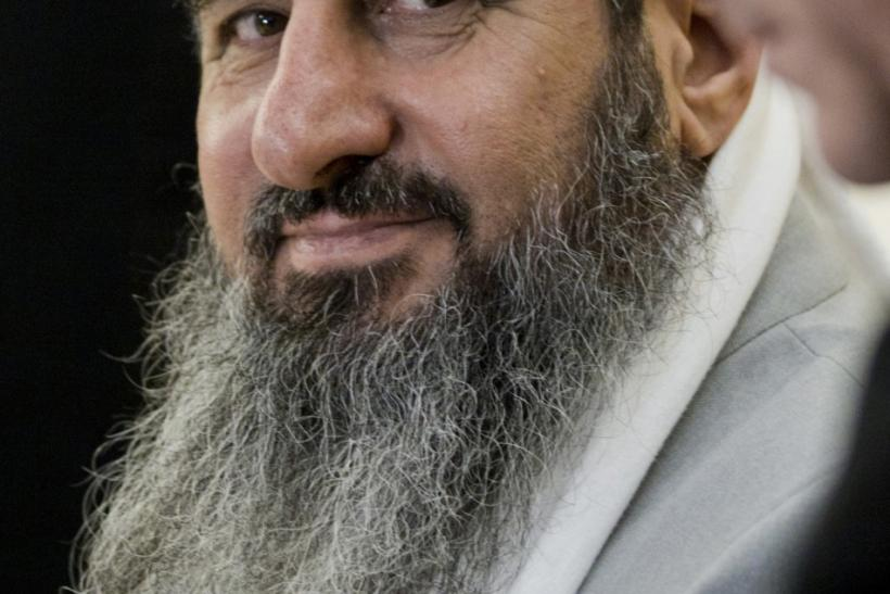 Defendant Iraqi-born cleric Mullah Krekar sits in a courtroom in Oslo.