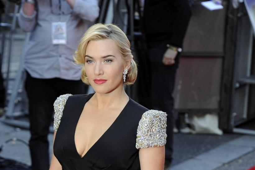 Kate Winslet Anic Premiere Red Carpet V Neck Beading Formal