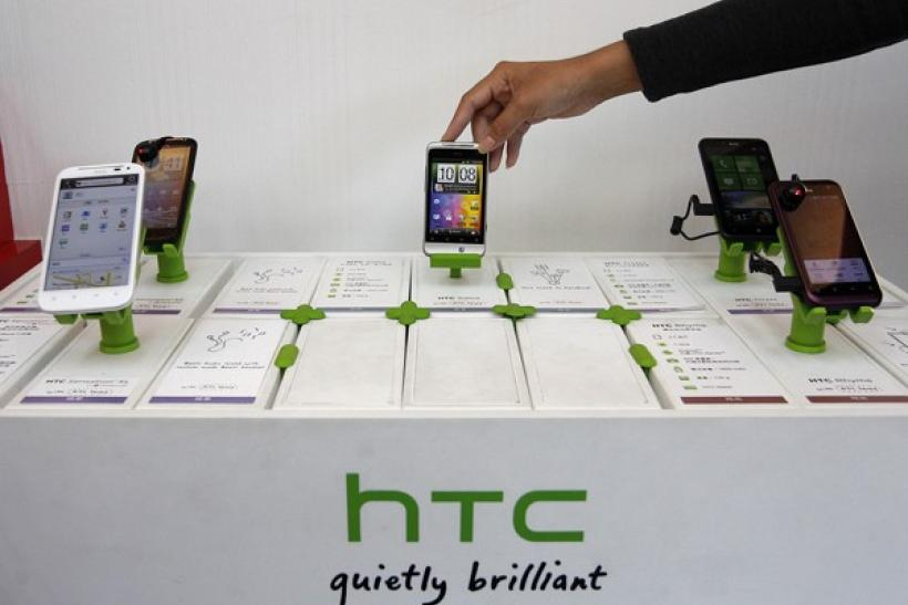 HTC phones in a mobile phone store in Taipei