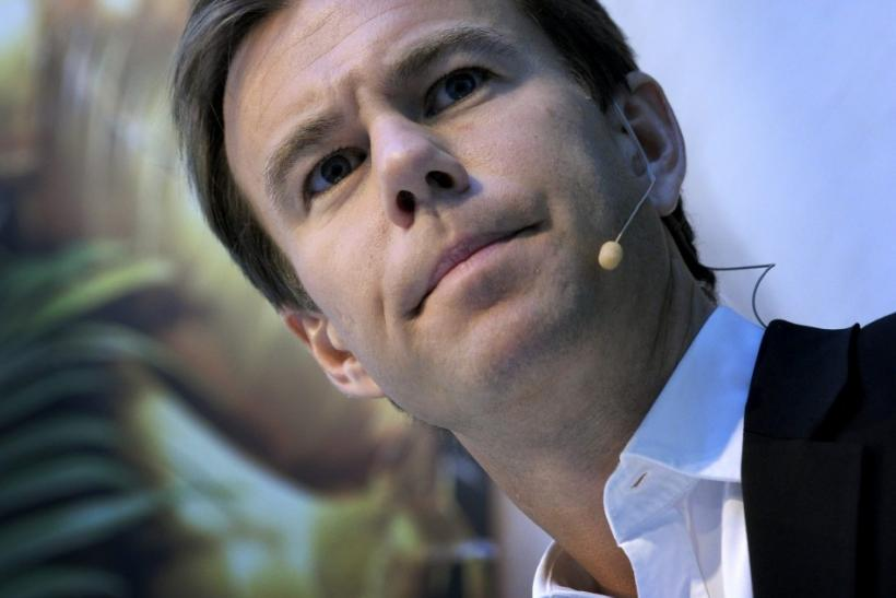 H&M chief executive Karl-Johan Persson speaks during a news conference in Stolkholm