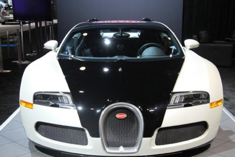 The 2012 Bugatti Veyron Blanc Noir up close from the front at the New York International Auto Show 2012.