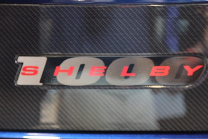 The Shelby logo on the Shelby 1000 at the New York International Auto Show 2012.
