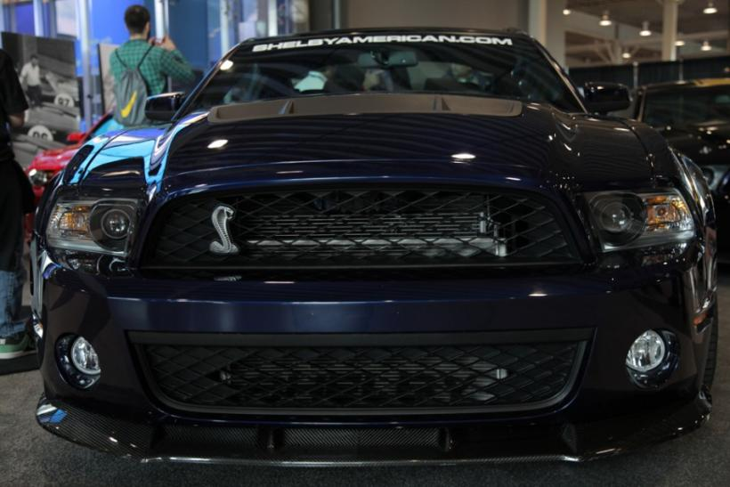 The front and cobra emblem of the Shelby 1000 at the New York International Auto Show 2012.